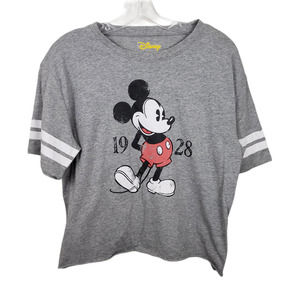 Disney Mickey Mouse Cropped Tee Shirt top Lg gray